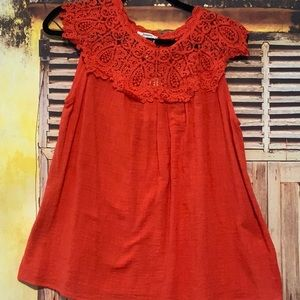 Red lace top blouse